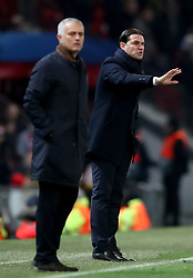 Manchester United manager Jose Mourinho (left) and BSC Young Boys manager Gerardo Seoane (right) on the touchline