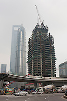 construciton of a skyscraper in Pudong, Shanghai China