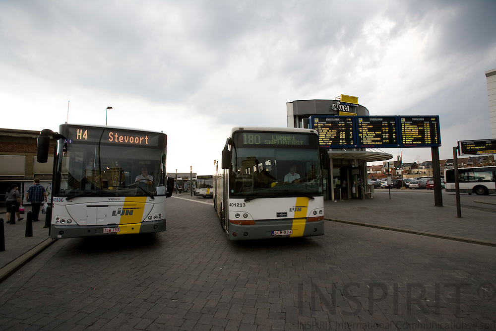 HASSELT - BELGIUM - 02 JULY 2008 --  The city of Hasselt has introduced a free public transport service since 1. July 1997. Here busses at the bus terminal near the railway station. Photo: Erik Luntang..