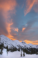 Colorful winter sunrise above Marriott Basin, Coast Mountains British Columbia
