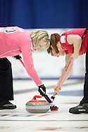 Jessica Mair and Beth Iskiw.The 2011 GP Car and Home Players' Championship ran April 12-17 at the Crystal Centre, Grande Prairie, AB..11-04-13, Photo Randy Vanderveen, Grande Prairie, Alberta.