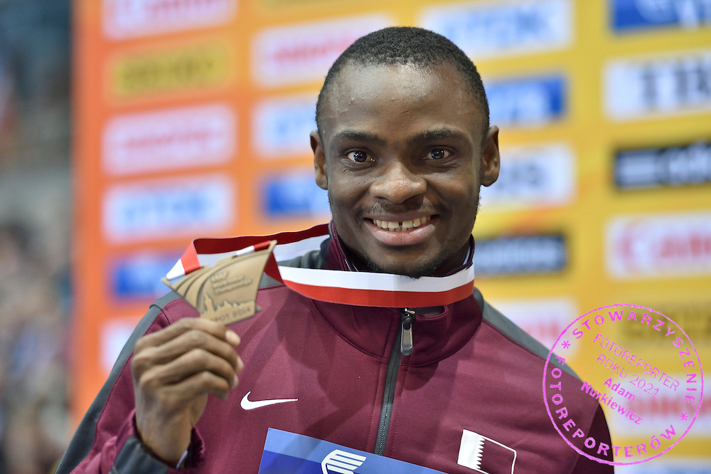 Femi Ogunode of Qatar poses with his medal in men's 60 meters during the IAAF Athletics World Indoor Championships 2014 at Ergo Arena Hall in Sopot, Poland.<br /> <br /> Poland, Sopot, March 9, 2014.<br /> <br /> Picture also available in RAW (NEF) or TIFF format on special request.<br /> <br /> For editorial use only. Any commercial or promotional use requires permission.<br /> <br /> Mandatory credit:<br /> Photo by &copy; Adam Nurkiewicz / Mediasport