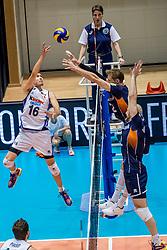 18-08-2017 NED: Oefeninterland Nederland - Italië, Doetinchem<br /> De Nederlandse volleybal mannen spelen hun eerste oefeninterland van twee in SaZa topsporthal tegen Italie als laatste voorbereiding op het EK in Polen. Nederland verliest met 3-0 / Oleg Antonov #16