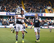 Millwall midfielder Jed Wallace celebrates his goal to make it 2-0 during the Sky Bet League 1 match between Millwall and Blackpool at The Den, London, England on 5 March 2016. Photo by David Charbit.