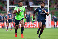 MELBOURNE, VIC - MARCH 01: Waisake Naholo (14) of the Highlanders runs the ball downfield at The Super Rugby match between Melbourne Rebels and Highlanders on March 01, 2019 at AAMI Park, VIC. (Photo by Speed Media/Icon Sportswire)