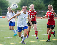 Sarah Dunlap of Interlakes charges down field during NHIAA Division III Soccer with Laconia on Friday afternoon.  (Karen Bobotas/for the Laconia Daily Sun)