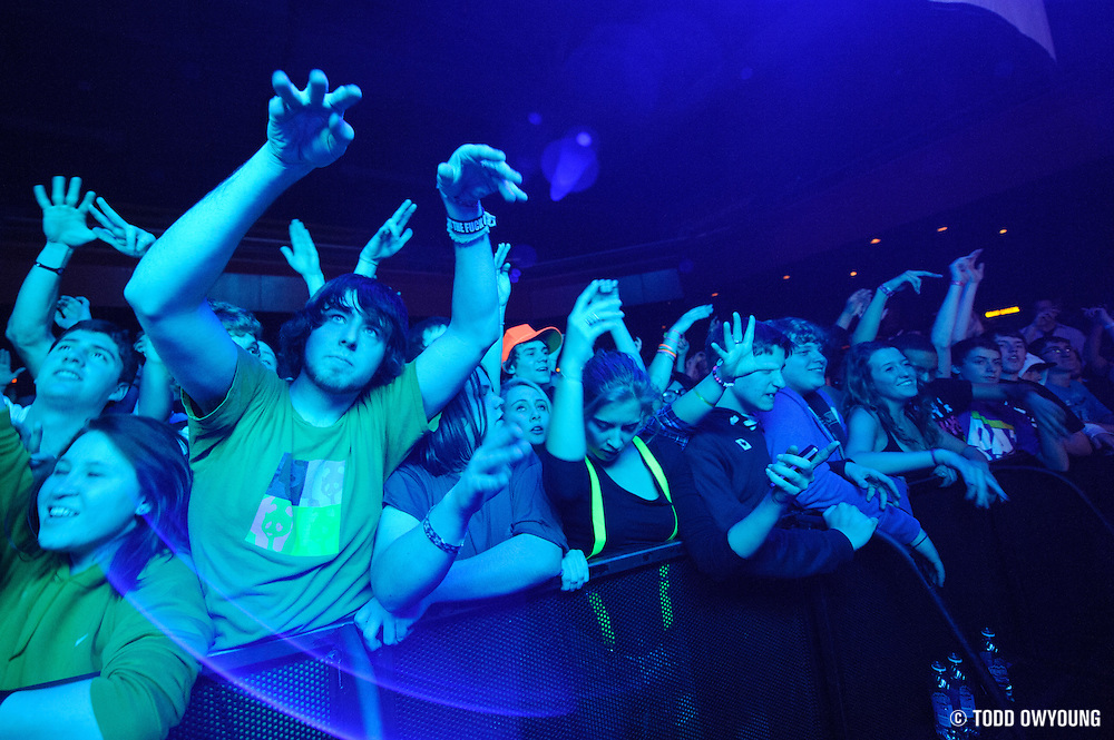 Fans during Steve Aoki's performance at the Pageant in St. Louis on February 1, 2012.