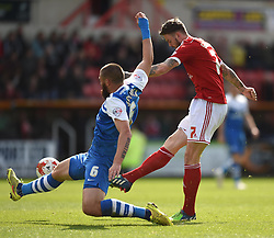 Swindon Town's Ben Gladwin has an attempt at the Peterborough goal - Photo mandatory by-line: Paul Knight/JMP - Mobile: 07966 386802 - 11/04/2015 - SPORT - Football - Swindon - The County Ground - Swindon Town v Peterborough United - Sky Bet League One