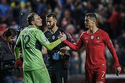 March 22, 2019 - Na - Lisboa, 03/22/2019 - The Portuguese Football Team received this afternoon their Ukrainian counterpart at the Estádio da Luz in Lisbon, in the Group B game, in the qualifying round for the European Championship 2020. Andriy Pyatov; Cristiano Ronaldo  (Credit Image: © Atlantico Press via ZUMA Wire)