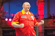 Andrew Gilding celebrates victory over Martyn King during the First Round of the BetVictor World Matchplay Darts at the Empress Ballroom, Blackpool, United Kingdom on 19 July 2015. Photo by Shane Healey.