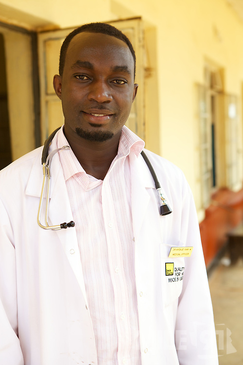 Doctor Ivan Nyenje outside Kasangati Health Centre in Uganda.