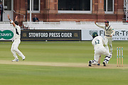 James Harris traps Hassan Azad LBW during the Specsavers County Champ Div 2 match between Middlesex County Cricket Club and Leicestershire County Cricket Club at Lord's Cricket Ground, St John's Wood, United Kingdom on 17 May 2019.