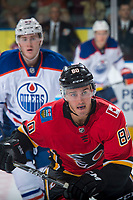 PENTICTON, CANADA - SEPTEMBER 8: Glenn Gawdin #80 of Calgary Flames skates against the Calgary Flames on September 8, 2017 at the South Okanagan Event Centre in Penticton, British Columbia, Canada.  (Photo by Marissa Baecker/Shoot the Breeze)  *** Local Caption ***