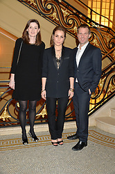 Left to right, AMANDA BERRY, NOOMI RAPACE and BEN LATHAM-JONES at the Lancôme BAFTA Dinner held at The Cafe Royal, Regent's Street, London on 6th February 2015.