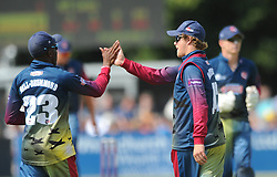 Sam Northeast of Kent celebrates with Daniel Bell-Drummond of Kent as he catches out Benny Howell of Gloucestershire - Photo mandatory by-line: Dougie Allward/JMP - Mobile: 07966 386802 - 12/07/2015 - SPORT - Cricket - Cheltenham - Cheltenham College - Natwest Blast T20
