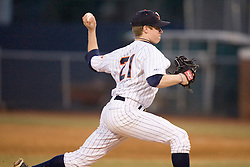 Virginia Cavaliers pitcher/firstbaseman Sean Doolittle (21) pitches against Delaware.  The Virginia Cavaliers Baseball Team defeated the Delaware Blue Hens 11-2 in the first of a three game series at Davenport Field in Charlottesville, VA on March 2, 2007.