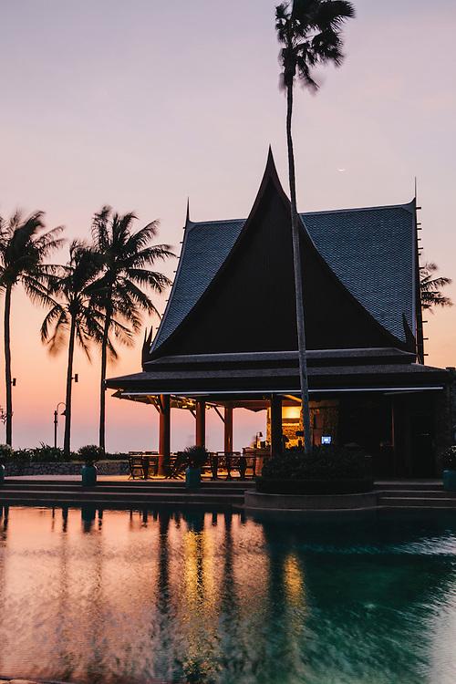 Public pool and restaurant at Chiva Som