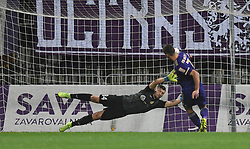 Ajdin Mulalic of Domzale ans Rok Kronaveter of Maribor during football match between NK Maribor and NK Domzale in 17th Round of Prva liga Telekom Slovenije 2019/20, on November 9, 2019 in Ljudski vrt, Maribor, Slovenia. Photo by Milos Vujinovic / Sportida