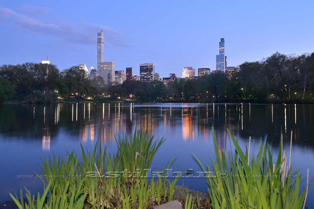 Reflection of Manhattan in Central Park Lake.