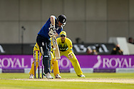 Eoin Morgan of England defends during the 3rd One Day International match at Old Trafford Cricket Ground, Stretford<br /> Picture by Andy Kearns/Focus Images Ltd 0781 864 4264<br /> 08/09/2015