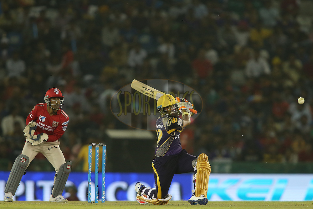 Robin Uthappa of Kolkata Knight Riders miss times his slog sweep during match 13 of the Vivo Indian Premier League (IPL) 2016 between the Kings XI Punjab and the Kolkata Knight Riders held at the IS Bindra Stadium, Mohali, India on the 19th April 2016<br /> <br /> Photo by Shaun Roy / IPL/ SPORTZPICS