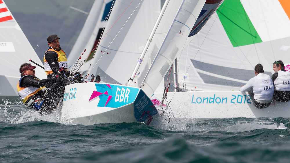 ENGLAND, Weymouth. 2nd August 2012. Olympic Games. Star class. Iain Percy (GBR) Helm, Andrew Simpson (GBR) Crew.
