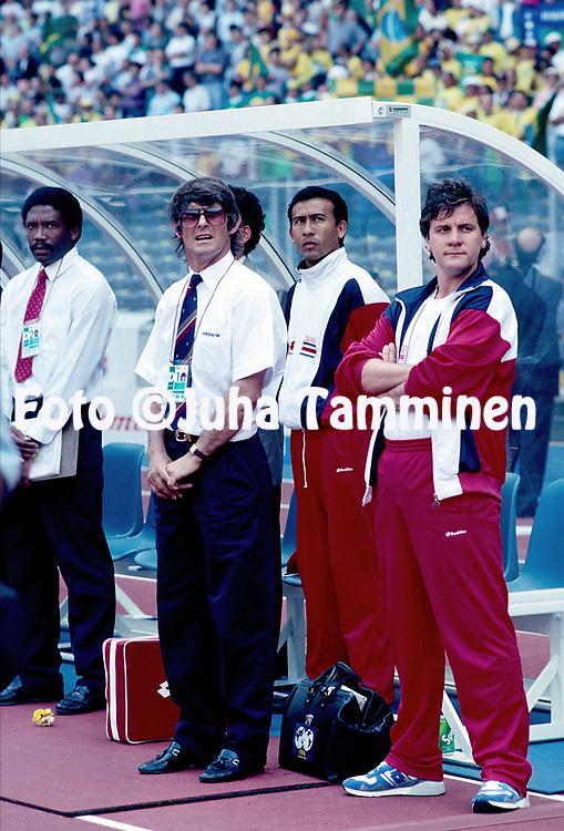 FIFA World Cup - Italia 1990<br /> 16.6.1990, Stadio Delle Alpi, Turin / Torino, Italy.<br /> Group C, Brazil v Costa Rica.<br /> Costa Rica coach Velibor &quot;Bora&quot; Milutinovic