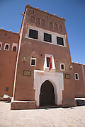 Adobe built tower at the Kasbah Taorirt, built by the el Glaoui dynasty, Ouarzazate, Morocco, north Africa