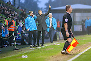 Forest Green Rovers manager, Mark Cooper issues instructions during the Vanarama National League match between Forest Green Rovers and Dover Athletic at the New Lawn, Forest Green, United Kingdom on 17 December 2016. Photo by Shane Healey.