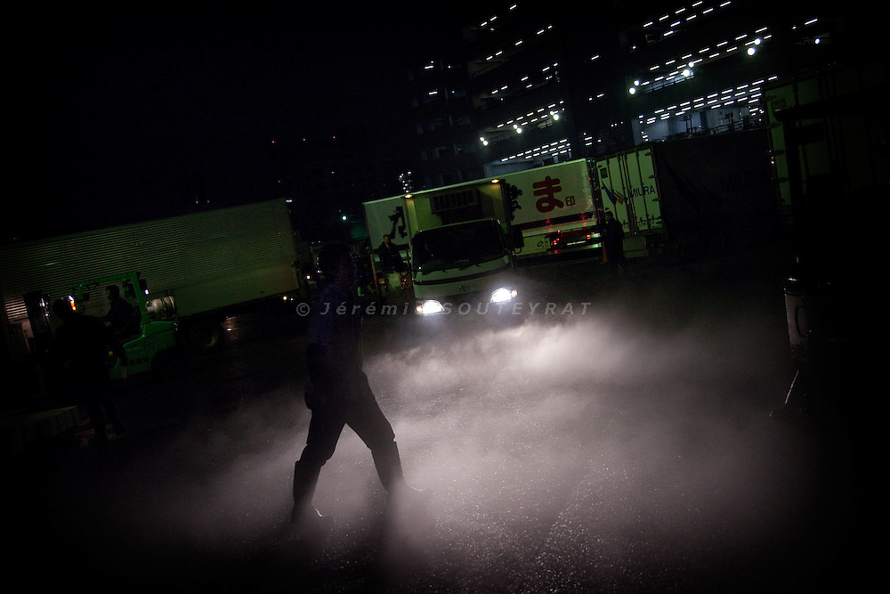 Tokyo, 1st of March 2010 - Tuna at Tsukiji wholesale fish market, biggest fish market in the world. 3 a.m, a man walking in the fog created by the frozen tunas taken out of the trucks.