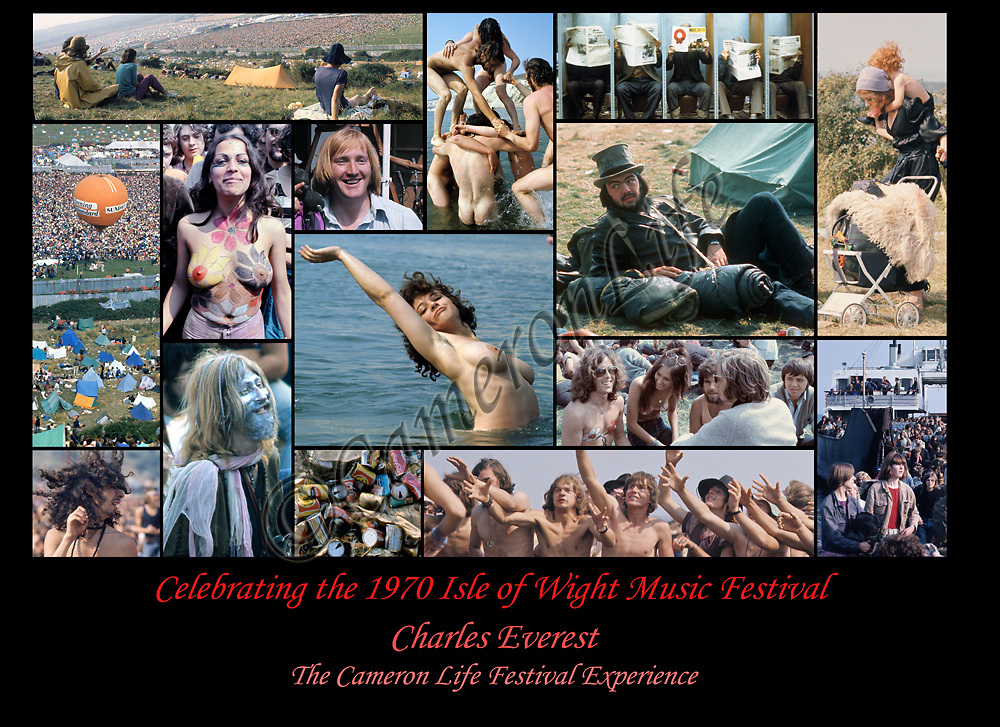 Celebrating .-No Festival would be complete without an organiser and audience. Seen here are the many characters who attended the 1970 festival - landing on the Island, relaxing, body painting and nude bathing - and also an image of Rickie Farr, one of the organisers, looking very optimistic.