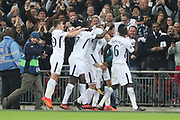 Tottenham Hostpur midfielder Deli Alli (20) celebrating after scoring goal to make it 1-0 during the Champions League match between Tottenham Hotspur and Real Madrid at Wembley Stadium, London, England on 1 November 2017. Photo by Matthew Redman.