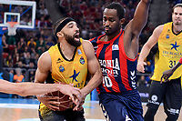 Baskonia's Rodrigue Beaubois and Iberostar Tenerife's David White during Quarter Finals match of 2017 King's Cup at Fernando Buesa Arena in Vitoria, Spain. February 16, 2017. (ALTERPHOTOS/BorjaB.Hojas)