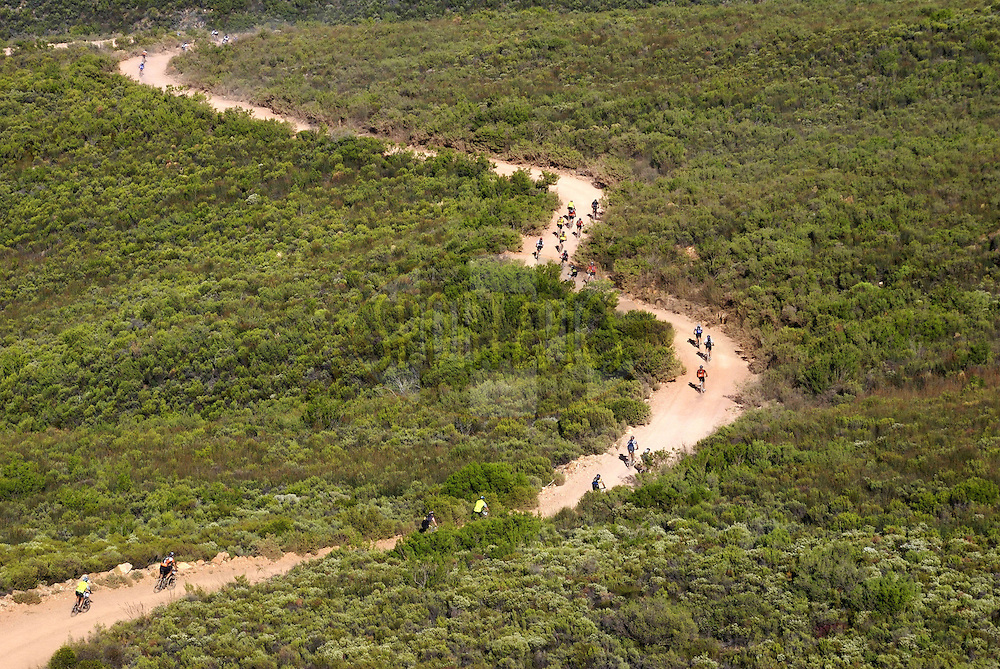 WESTERN CAPE, SOUTH AFRICA -  31 March 2008, Arial view during stage three of the 2008 Absa Cape Epic Mountain Bike stage race from Calitzdorp Spa.to Langenhoven High School in Riversdale, Western Cape, South Africa..Photo by Neil Gardiner/SPORTZPICS