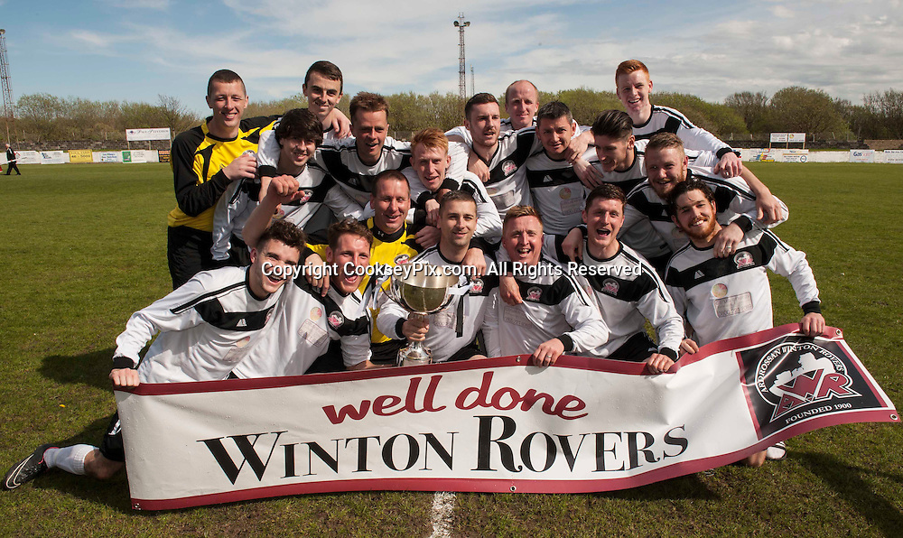 Picture by Christian Cooksey/CookseyPix.com. Mandatory credit must read as CookseyPix.com<br /> <br /> Evening Times Champions Cup preliminary round. Ardrossan Winton Rovers v Rossvale FC @ Winton Park, Ardrossan.<br />  Ardrossan Winton Rovers celebrate winning the league.