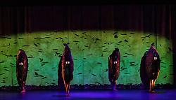 Vuelos is being performed as part of Edinburgh International Festival at Church Hill Theatre from 11-13 August 2017. It is created by Aracaladanza, a dance theatre company from Madrid.  Vuelos draws on Leonardo da Vinci&rsquo;s drawings, paintings and sculptures. <br /> <br /> Dancers included in pictures are Carolina Arija Gallardo, Jimena Trueba Took, Jonaton de Luis Mazagatos, Jorge Brea Salgueiro, Raquel de la Plaza Humera