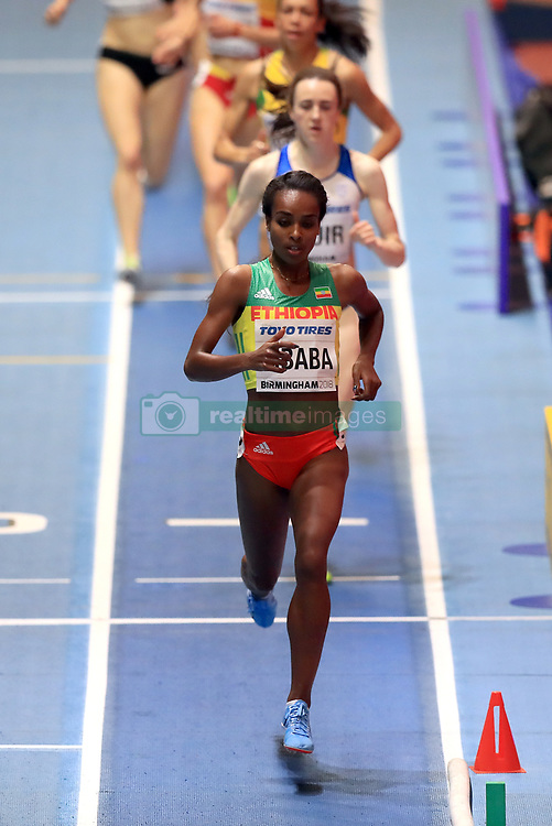 Ethiopia's Genzebe Dibaba on her way to winning the Women's 1500m Heat 1 during day two of the 2018 IAAF Indoor World Championships at The Arena Birmingham.