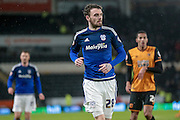 Scott Malone (Cardiff City) during the Sky Bet Championship match between Hull City and Cardiff City at the KC Stadium, Kingston upon Hull, England on 13 January 2016. Photo by Mark P Doherty.
