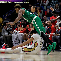 Nov 26, 2018; New Orleans, LA, USA; New Orleans Pelicans forward Anthony Davis (23) collides with Boston Celtics guard Marcus Smart (36) during the second half at the Smoothie King Center. Mandatory Credit: Derick E. Hingle-USA TODAY Sports