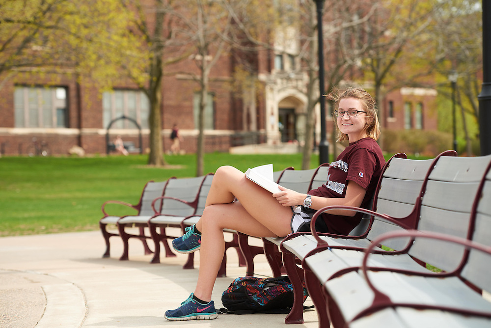 Activity; Studying; Buildings; Wittich; Location; Outside; Objects; Books; People; Student Students; Woman Women; Spring; April; Time/Weather; cloudy; Type of Photography; Candid; UWL UW-L UW-La Crosse University of Wisconsin-La Crosse Heidi wirt biology major