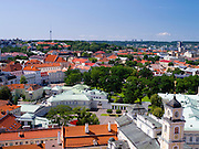 High-angle view of Vilnius and the Lietuvos Respublikos prezidentūra, from the Vilnius University bell tower, in Senamiestyje/Old Town, Vilnius, Lithuania