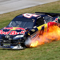 April 17, 2011; Talladega, AL, USA; NASCAR Sprint Cup Series driver Kasey Kahne (4) car catches fire after following a wreck during the Aarons 499 at Talladega Superspeedway.   Mandatory Credit: Derick E. Hingle