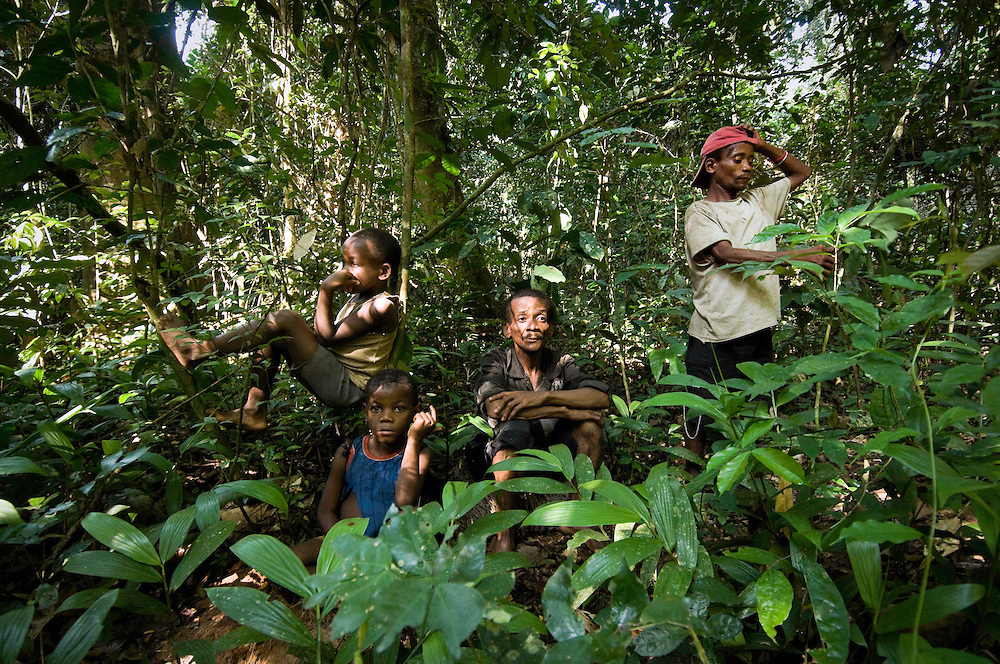 A group of Mbuti pygmies rest during the hunt in the Okapi Wildlife Reserve, Ituri Rainforest, DR Congo