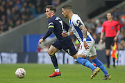 Derby County midfielder Harry Wilson (7) battles with Brighton and Hove Albion midfielder Anthony Knockaert (11) during the The FA Cup 5th round match between Brighton and Hove Albion and Derby County at the American Express Community Stadium, Brighton and Hove, England on 16 February 2019.
