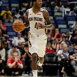 Oct 11, 2018; New Orleans, LA, USA; New Orleans Pelicans guard Elfrid Payton (4) against the Toronto Raptors during the second half at the Smoothie King Center. Mandatory Credit: Derick E. Hingle-USA TODAY Sports