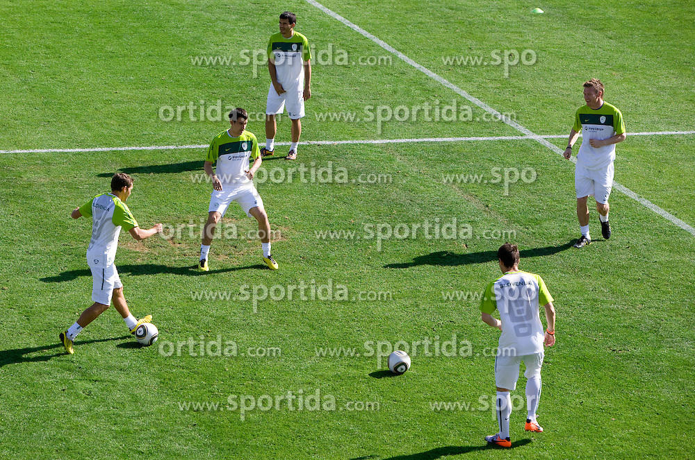 Players of Slovenia during a training session at  Hyde Park High School Stadium on June 9, 2010 in Johannesburg, South Africa.  (Photo by Vid Ponikvar / Sportida)