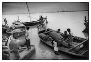 Loading Ganga River boats, Patna, Bihar.