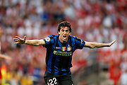 Inter Milan's Argentinian forward Alberto Milito Diego celebrates after scoring during the UEFA Champions League final football match Inter Milan against Bayern Munich at the Santiago Bernabeu stadium in Madrid on May 22, 2010
