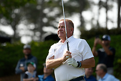 Notre Dame head football coach Brian Kelly during the Chick-fil-A Peach Bowl Challenge Closest to the Pin Skills Competition at the Ritz Carlton Reynolds, Lake Oconee, on Monday, April 29, 2019, in Greensboro, GA. (Dale Zanine via Abell Images for Chick-fil-A Peach Bowl Challenge)