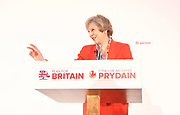 Conservative Spring Forum at Welsh Conference, Cardiff, Wales, Great Britain <br /> 17th March 2017 <br /> <br /> <br /> <br /> The Rt Hon Theresa May MP <br /> Prime Minister and Leader of the Conservatives <br /> <br />  <br /> <br /> Photograph by Elliott Franks <br /> Image licensed to Elliott Franks Photography Services